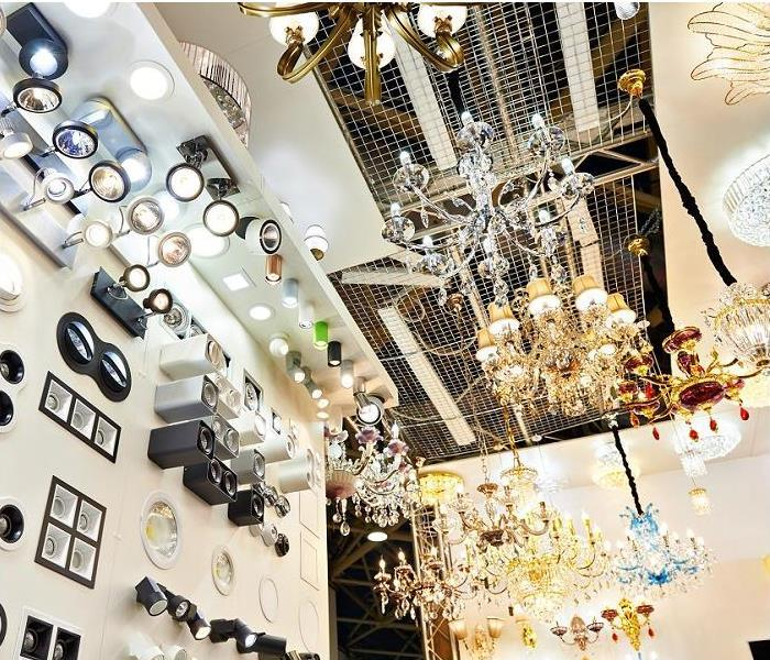 light fixtures and chandeliers displayed in store