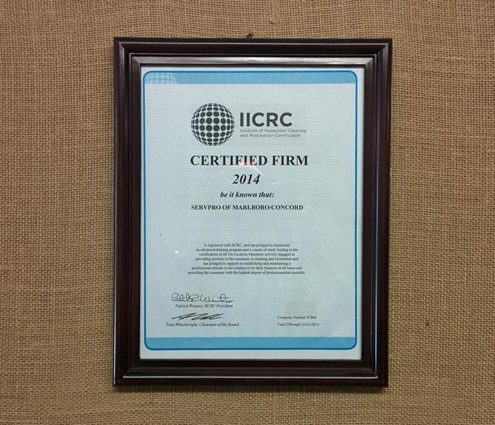 General SERVPRO of Nashua Becomes an IICRC Certified Firm