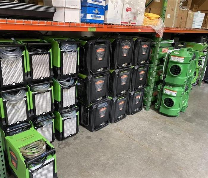 SERVPRO warehouse filled to the top with new equipment.